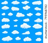 clouds set isolated on blue... | Shutterstock .eps vector #795968782