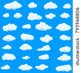 clouds set isolated on blue... | Shutterstock .eps vector #795968806