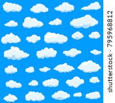 clouds set isolated on blue... | Shutterstock .eps vector #795968812