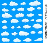clouds set isolated on blue... | Shutterstock .eps vector #795968818