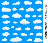 clouds set isolated on blue... | Shutterstock .eps vector #795968842