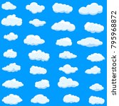 clouds set isolated on blue... | Shutterstock .eps vector #795968872