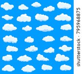 clouds set isolated on blue... | Shutterstock .eps vector #795968875