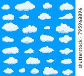clouds set isolated on blue... | Shutterstock .eps vector #795968896