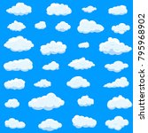 clouds set isolated on blue... | Shutterstock .eps vector #795968902