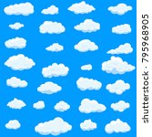 clouds set isolated on blue... | Shutterstock .eps vector #795968905