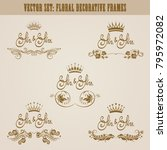set of golden hand drawn floral ... | Shutterstock .eps vector #795972082