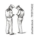 two sailors stand with their... | Shutterstock . vector #795973432