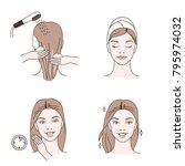 beauty fashion girl apply hair... | Shutterstock .eps vector #795974032