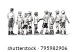 group of junior students on... | Shutterstock . vector #795982906