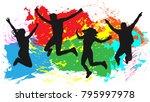 jumping people friends... | Shutterstock .eps vector #795997978