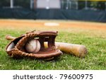 old baseball  glove  and bat on ... | Shutterstock . vector #79600975