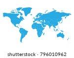 blue vector map of world.... | Shutterstock .eps vector #796010962