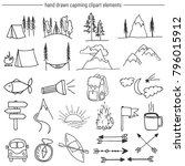 vector set of camping related... | Shutterstock .eps vector #796015912