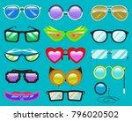 glasses vector cartoon... | Shutterstock .eps vector #796020502