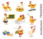 chicken vector cartoon chick... | Shutterstock .eps vector #796020505
