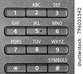 Small photo of Alphanumeric Buttons for Electronic Machine - Close up photograph of a keypad of alphanumeric buttons for an electronic device.