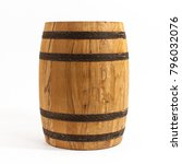 Wooden Barrel Solated On White...