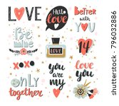 valentines day set. template... | Shutterstock .eps vector #796032886