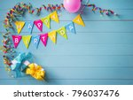 happy birthday party background ... | Shutterstock . vector #796037476