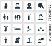 human icons set with family ... | Shutterstock . vector #796038412