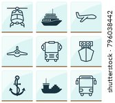 shipping icons set with cruise  ... | Shutterstock . vector #796038442