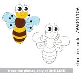 funny bee to be traced only of... | Shutterstock .eps vector #796041106