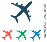 plane icon set   simple flat... | Shutterstock .eps vector #796042882
