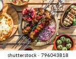 shish kebab or shashlik ... | Shutterstock . vector #796043818