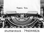 vintage typewriter on white... | Shutterstock . vector #796044826