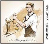 smiling bartender pouring beer. ... | Shutterstock .eps vector #796044838