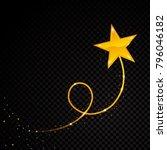 gold glittering spiral star... | Shutterstock .eps vector #796046182