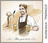 smiling bartender holding beer. ... | Shutterstock .eps vector #796046215