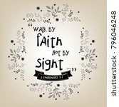 bible quote design with floral...   Shutterstock .eps vector #796046248