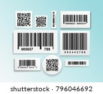 set of realistic barcode black... | Shutterstock .eps vector #796046692