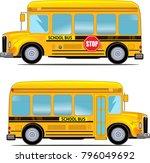 cartoon school kids riding a... | Shutterstock .eps vector #796049692