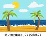 cartoon nature landscape with... | Shutterstock .eps vector #796050676