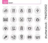 baby. set of flat  vector ... | Shutterstock .eps vector #796052002