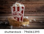 popcorn in red and white... | Shutterstock . vector #796061395