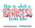 princess party lettering with... | Shutterstock .eps vector #796063696