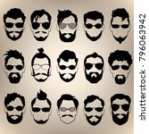 set of silhouettes of men's... | Shutterstock .eps vector #796063942