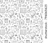 seamless pattern with cute hand ... | Shutterstock .eps vector #796065625