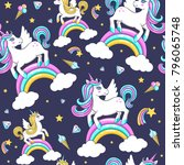 seamless pattern with cute... | Shutterstock .eps vector #796065748