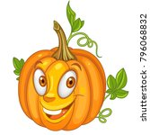 cartoon pumpkin character.... | Shutterstock .eps vector #796068832