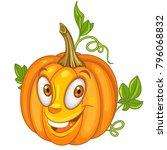 cartoon pumpkin character.... | Shutterstock .eps vector #796068832