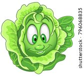 cartoon cabbage character.... | Shutterstock .eps vector #796068835