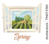 garden or farm at spring.... | Shutterstock .eps vector #796071982