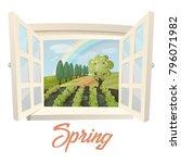 garden or farm at spring.... | Shutterstock .eps vector #796071982