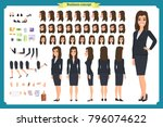 set of businesswoman character... | Shutterstock .eps vector #796074622