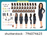 set of businesswoman character... | Shutterstock .eps vector #796074625